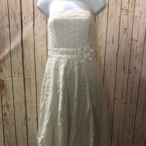 NWT XOXO Collection White Floral Strapless Dress